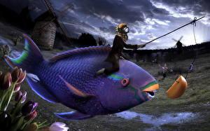 Обои Креатив Рыбы Мельницы