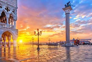 Фотография Италия Рассветы и закаты Венеция Уличные фонари Солнце Города