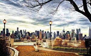 Фотографии Штаты Небоскребы Нью-Йорк Уличные фонари Города