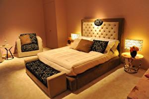 Обои Интерьер Спальня Кровать Дизайна Подушки