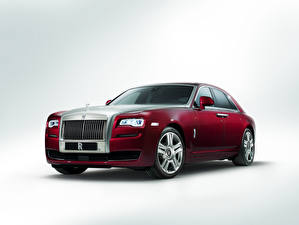 Картинка Rolls-Royce Бордовый Роскошные Металлик 2014 Ghost Series II Машины