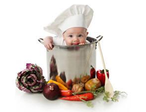 Фотография Овощи Морковь Лук репчатый Младенцы Шляпа Дети