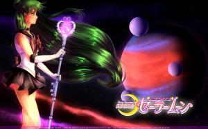 Фотографии Sailor Moon Планеты С посохом Волос Setsuna Meiou, Sailor Pluto Девушки Космос