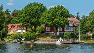 Картинки Швеция Дома Реки Деревья Nacka