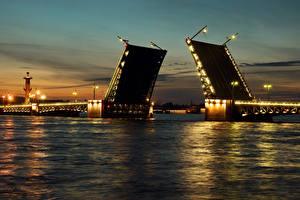 Обои Россия Санкт-Петербург Мосты Реки Ночью город