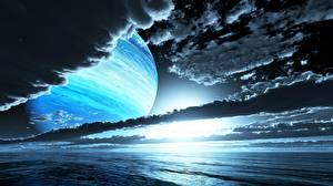 Фотография Планеты Поверхность планеты Рассветы и закаты Облака Космос