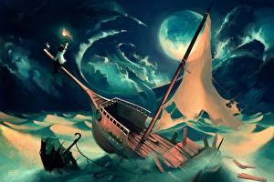 Фотографии Рисованные Катастрофы Парусные Корабли Луна Зонт Cyril Rolando