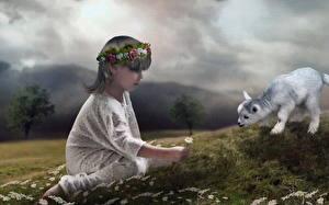 Картинка Рисованные Ромашки Девочки Дети