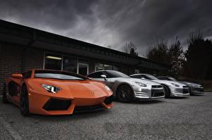 Обои Ламборгини Ниссан Оранжевый Дорогие aventador lp700-4, nissan gtr r35 Автомобили