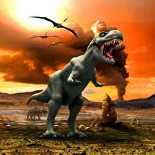 Обои для рабочего стола Древние животные Динозавр Тираннозавр рекс животное 3D_Графика