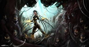 Картинки Магия Монстр StarCraft StarCraft 2 Сара Керриган Игры Девушки