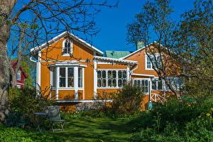 Фото Швеция Дома Трава Vaxholm