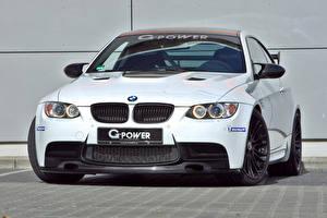 Фотографии БМВ Стайлинг Белый Спереди 2014 G-Power M3 V8 SK (BMW M3 E92) автомобиль