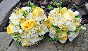 Картинка Букеты Розы Ромашки Два Цветы