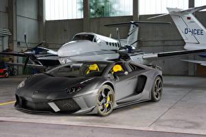 Картинка Lamborghini Тюнинг Серый Дорогие 2014Mansory Carbonado Apertos (Lamborghini Aventador LP700-4) Автомобили