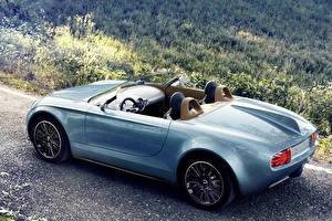 Фотография Mini Голубая Кабриолета Металлик Сзади 2014 Superleggera Vision авто