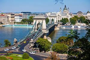Картинка Венгрия Дома Река Мосты Будапешт Города