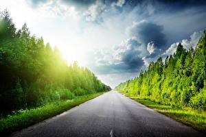 Фото Дороги Леса Лето Небо Облака Асфальта Природа