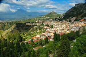 Фотографии Италия Дома Гора Сицилия Messina Города