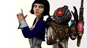 Картинка BioShock BioShock Infinite Шлем Робот Eleanor Lamb, Elizabeth, Big Sister Игры 3D_Графика Девушки
