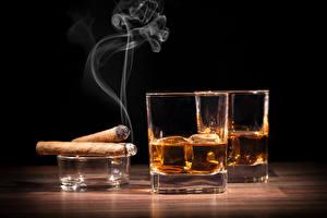 Картинки Напитки Стакане Дым Сигара Пища