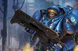 Фотография StarCraft StarCraft 2 Воители Автоматы В шлеме Доспехи Tuchys Findlay
