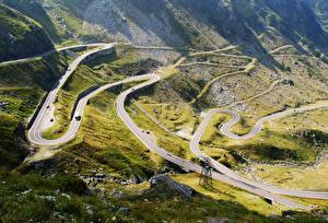 Обои Румыния Гора Дороги Transfagarasan Природа