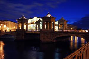 Картинка Россия Санкт-Петербург Реки Мосты Ночью Города
