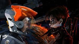 Фотографии Воин Планета Шлема Space Shuttle Фантастика Девушки