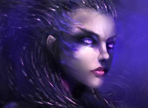 Фотографии StarCraft StarCraft 2 Сара Керриган Смотрят Лицо