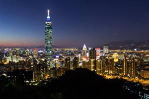 Фотографии Китай Здания Тайвань Тайбэй Мегаполис Ночь