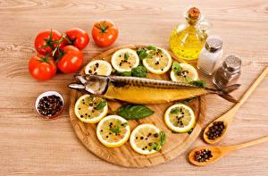 Фотографии Натюрморт Рыба Приправы Лимоны Помидоры Пища