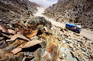Фотографии Грузовики KAMAZ Камни Гонки Dakar, 2014