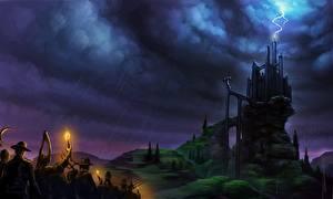 Картинки Фантастический мир Замок Дождь Молния Облако Frankenstein Фэнтези