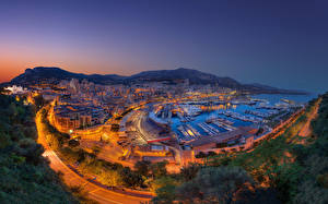 Фото Монако Дома Дороги Пристань Монте-Карло Ночь Города