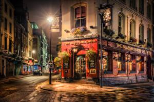 Обои Англия Здания Лондон Улица Ночь Уличные фонари Города
