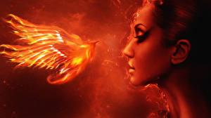 Картинка Волшебные животные Огонь Феникс Лицо Девушки