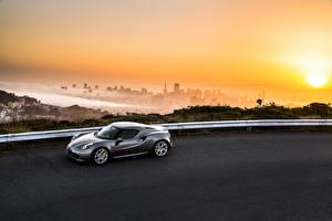 Фотографии Альфа ромео Дороги Рассветы и закаты Серый Металлик 2015 4C Машины