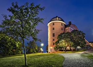 Фотография Швеция Замки Ночь Деревья Траве Уличные фонари Uppsala город