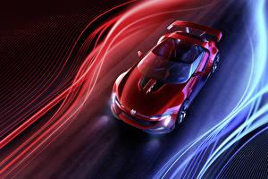 Обои Volkswagen Красный Металлик Сверху Родстер 2014 GTI roadster Автомобили