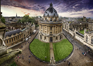 Фотография Великобритания Здания Лондон Улица Газон Bodleian Library Oxford