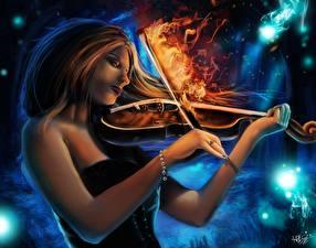 Картинка Волшебство Скрипки Пламя Burning Lullaby Фантастика Девушки