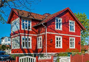 Фотография Швеция Дома Красный Vaxholm