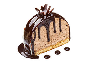 Картинка Сладости Торты Шоколад Белом фоне Еда