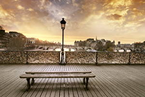 Фотографии Франция Здания Мост Париже Уличные фонари Скамейка Города