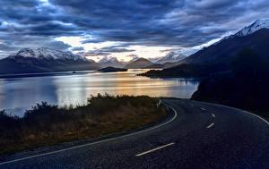 Фотографии Новая Зеландия Реки Гора Дороги Небо Пейзаж Otago Природа