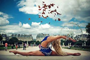 Обои Гимнастика Листва Шпагат Растяжка упражнение Спорт Девушки