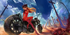 Обои Neon Genesis Evangelion Повязка на глаз soryu asuka langley Аниме Девушки Мотоциклы фото