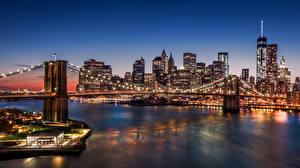 Фотографии США Небоскребы Реки Мост Нью-Йорк Ночь город