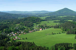 Фото Чехия Пейзаж Поля Леса Jetřichovice Природа